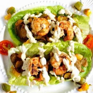 Cajun Cream Sauce over Shrimp Lettuce Wraps.