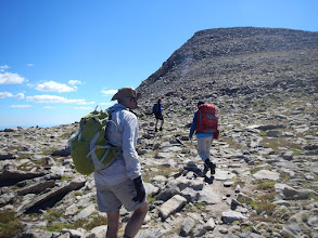 Photo: The final ascent of Hallett Peak. Photo by Bill Walker