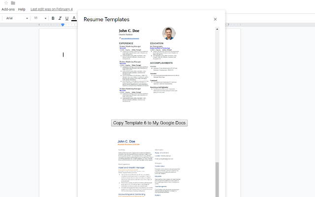 Resume Template - G Suite Marketplace