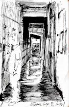 Photo: 遊魂2011.09.08鋼筆 1999年進泰源監獄上班時驚訝於監獄獨特的上班方式:24小時內兩人輪班、10分鐘巡邏一趟、沒有椅子坐,連吃飯都得捧著便當站著或蹲在地上吃。記得那時我整整有一個月的晚上沒被子可以蓋,因為被子得捲起來拿來墊腳,下班後必須睡到中午才有體力起床。去矯正人員訓練所受訓時,那裡的副所長問我們有什麼問題,同單位的同仁根他反映這事,他冷冷的說:「我們怕你們有椅子坐會打瞌睡,做這行就是這樣,你不愛就換工作,外面多的是有人想進來幹。」陳定南幹法務部長後我們有椅子坐了,但被來巡視的長官看到一樣會被打槍;勤區的燈光是昏暗的,只為了怕我們看書報,寫簿冊時採光不足只得瞇著眼;即使有監視器螢幕,我們還是得15分鐘去「逐房停留一兩秒查看」宜蘭監獄收的犯人從一千多人爆增至三千人的現在,我們工作量是以前的三倍,白天忙得像陀螺,晚上體力仍沒機會恢復,監視器現在不是為了監視犯人,而成了長官監視我們這些獄卒的工具,長官密集而不定時調監視畫面,然後挑我們值勤的小缺失,去年一年內被長官簽處的同仁數量,比宜蘭監獄有史以來加總還要多,搞得大家緊張兮兮無比疲憊,大部的精力都在應付長官,而不是對待犯人,現在我下班,又恢復了睡到中午的習慣,只怕第二天上班出狀況。在飽漢不知餓漢飢的長官領導下,我們這些馬兒不僅要會跑,還要不吃草,更別想喝水。所以大家都怕公車司機過勞死、怕保全員過勞死、怕新科工程師過勞死,可我們法務部矯正司不怕!因為我們的管理員訓練有素,入夜前,他們體力就會先被搾乾,然後成為飄盪在黑暗舍房中的…蒼白遊魂…