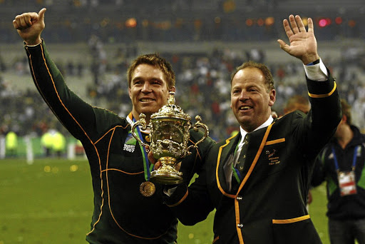 Leaders of men: Springbok captain John Smit and coach Jake White with the Webb Ellis Cup after the Boks beat the best in the world in 2007. Picture: TERTIUS PICKARD/GALLO IMAGES