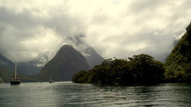 Photo: The clouds hung really low for most of the trip, but I could still tell what a beautiful place Milford Sound was.  It was undiscovered by Europeans until 1812.
