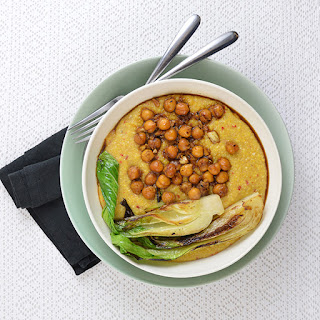 Spicy Ginger Polenta Bowl With Bok Choy And Chickpeas