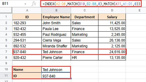 index match google sheets