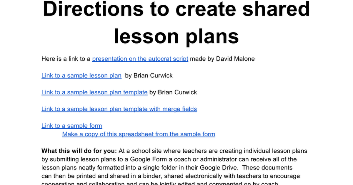 Autocrat Lesson Plans Directions Google Docs - How to create a lesson plan template