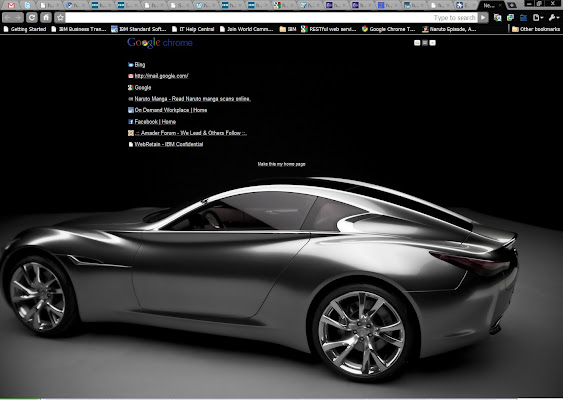 infinity car. a dark theme for chrome with stunning infinity car as background. its hd suitable very high resolutions.