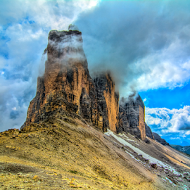 Tre Cime by Steve Rogers - Landscapes Mountains & Hills ( clouds, mountains, awesome, avalon-art, cloudscape, impressive, dolomites, italy, alps )