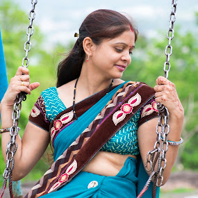 Arti malviya swing in garden by Basant Malviya - People Portraits of Women ( portraits of women,  )