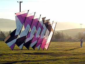 Photo: Uly With His Beautiful 7 stack of Custom Rev 1.5s in very low wind. The pattern on each kite is merely rotated one position clockwise each kite.