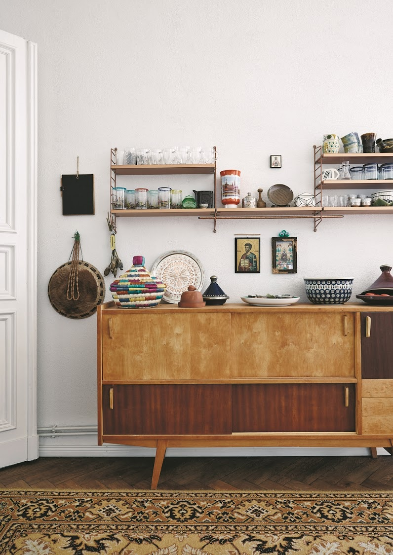 On one side of the kitchen area of the Berliner Zimmer is a mid-century Polish unit Korczak inherited from her family.