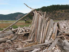 Photo: Day 4: Another driftwood building at Spencer's Spit state park.