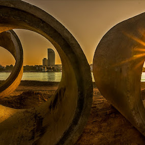 Orange pipes by Liquid Lens - Landscapes Sunsets & Sunrises ( circle, pwc79 )