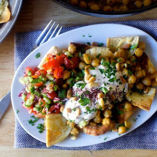 Baked Chickpeas with Pita Chips and Yogurt.