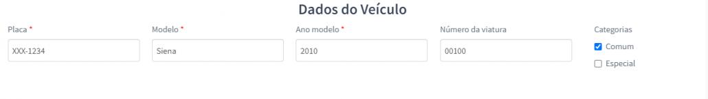 Dados do veículo