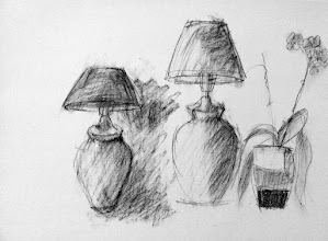 """Photo: Two Lamps and a Pot of Orchids, sketch, Brenda Clews, 2012, 13"""" x 10"""", charcoal on archival paper."""