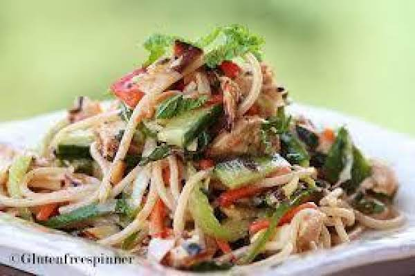 Chicken Noodle Salad, Asian Style, With Peanut-ginger Sauce.