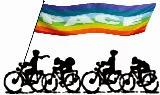 Grafik: Radfaher mit Pace-Fahne.