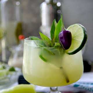 Spicy Thai Basil Cucumber Cocktail.