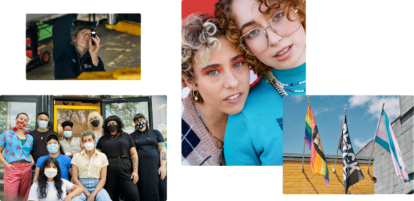 Collage of four images. One featuring a mechanic working underneath a car at Repair Revolution. Another featuring a group of nine folks wearing face masks outside of a storefront. The third of two curly-haired young people leaning close to one another. The final image of three flags flying side-by-side – the LGBTQ rainbow flag, the Black Lives Matter flag, and the transgender pride flag.