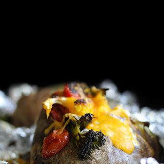 Recipe for Roasted Vegetable Baked Potatoes with cheddar