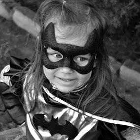 Batgirl by Jessica Simmons - Babies & Children Child Portraits ( black and white, child photography, child portrait, batgirl, costume, batman, halloween,  )