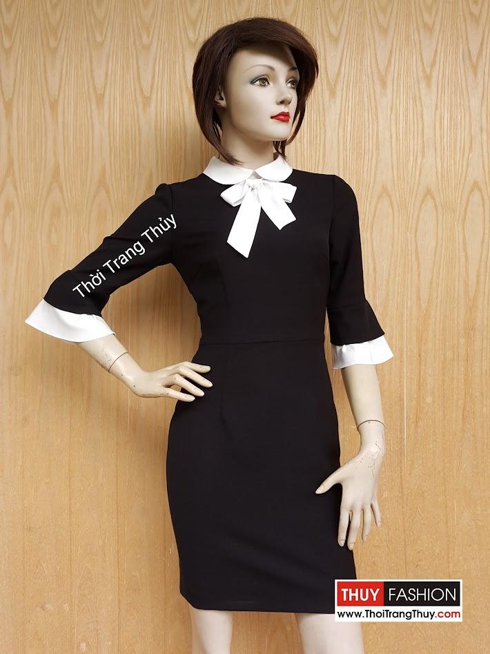 Váy liền dáng bút chì cổ thắt nơ và tay loe V467 tại Thời Trang Thủy