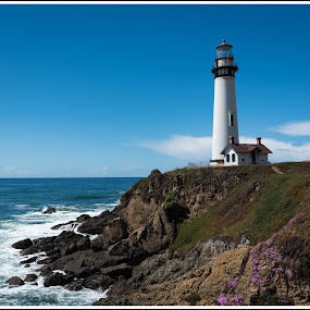 Pigeon Point #2 by Jebark Fineartphotography - Buildings & Architecture Public & Historical ( oceanscape, lighthouse, pacific, sea, ocean, rock, seascape, historical, landscape )