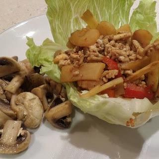 Chicken, Mushrooms and Chestnuts in Lettuce, with Coriander Mushrooms.