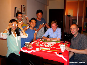 Photo: Mah jong makes us so silly (except for birdMAN -- he looks the same as always)