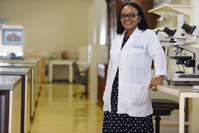 Professor Nonhlanhla Khumalo, wife of former dean of health sciences Professor Bongani Mayosi, in her dermatology laboratory at the University of Cape Town.
