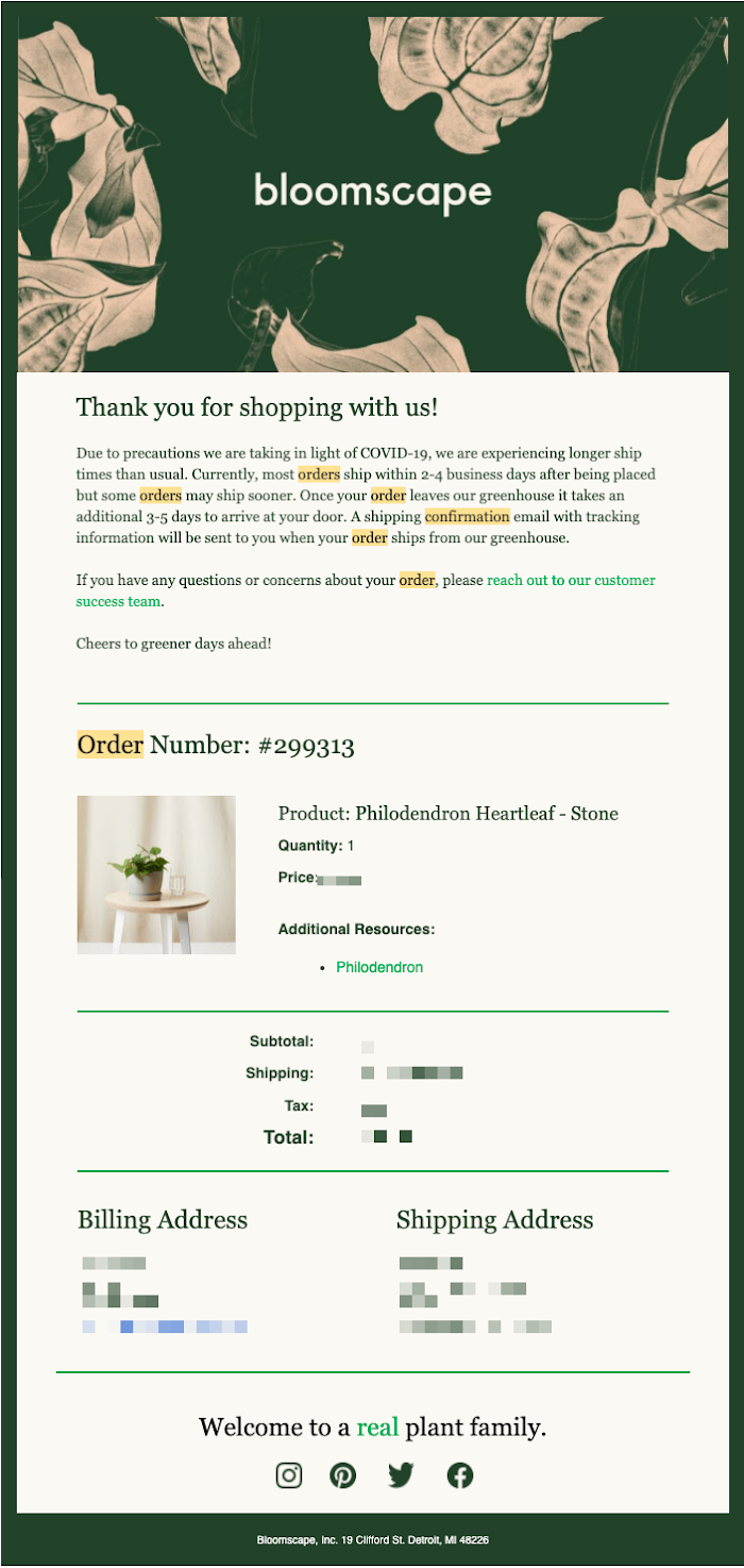 Bloomscape order email. Text reads: Thank you for shopping with us!
