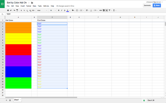sort by color google sheets add on