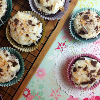 Coconut Chocolate Cupcakes with Cream Cheese Frosting.