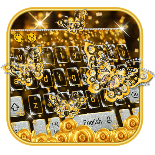 Gold Butterfly Diamond Keyboard Theme