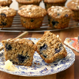 Maple Molasses Blueberry Oatmeal Muffins.