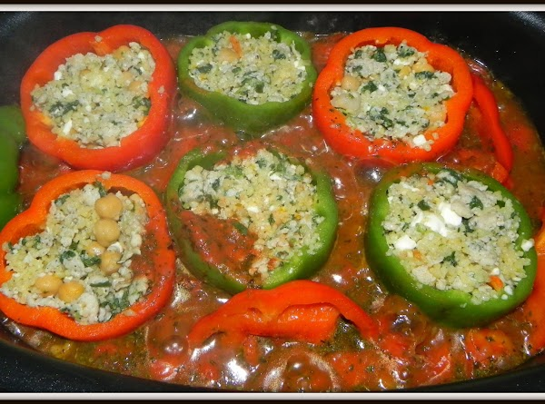 Place filled peppers into pot. Set OVEN to 250F for 20 - 25 minutes....