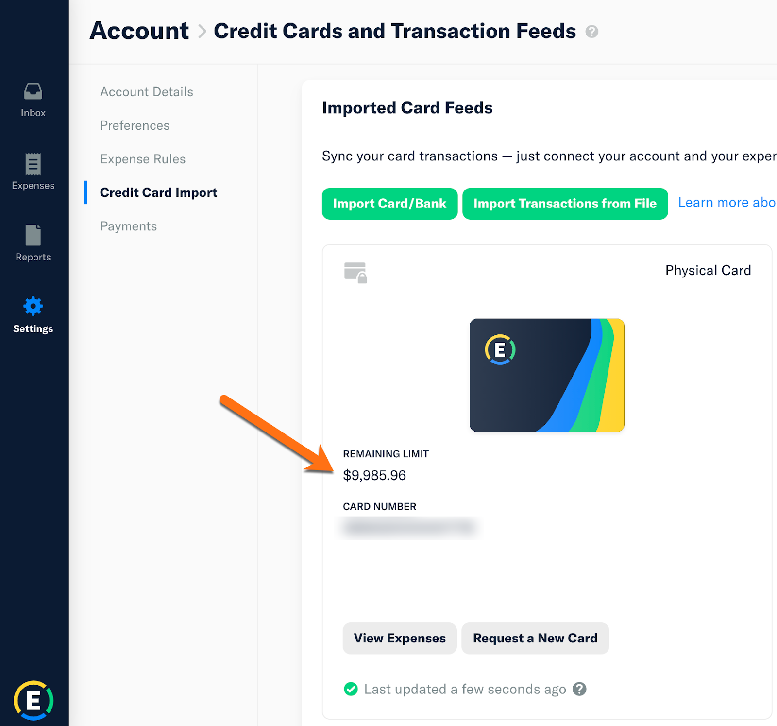 Screenshot of the Expensify Web App showing the Account > Credit Card Import page with the Smart Limit shown against the Expensify Card