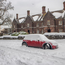 Snowy streets In Exeter by Wendy Richards - City,  Street & Park  Neighborhoods ( car, red, snow, street, buildings )