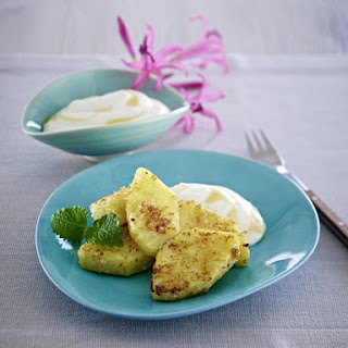 Pan-Fried Pineapple with Honey Cream Sauce