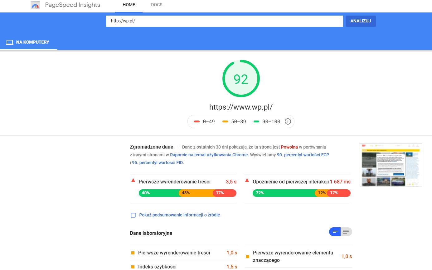 Analiza szybkości wczytywania strony internetowej