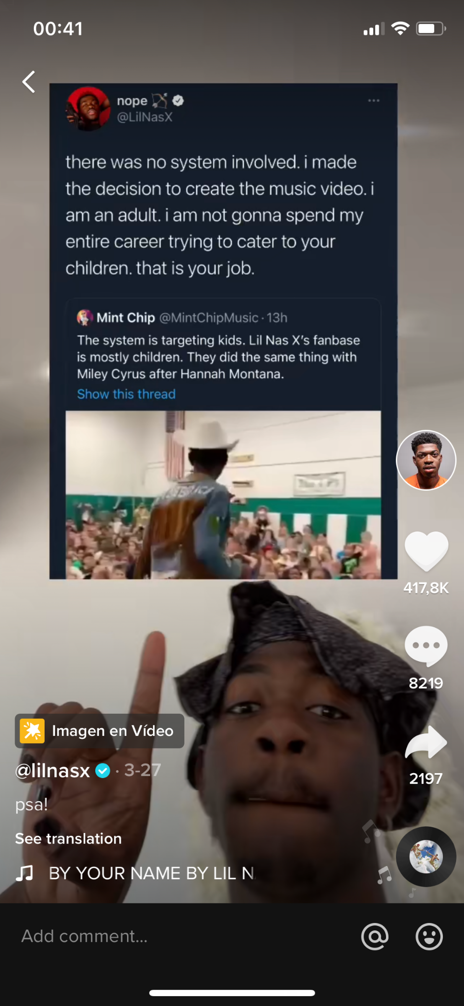 A viral marketing technique used by Lil Nas X is to screenshot tweets or memes
