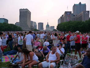 Photo: The sun was setting  just before concert time and this was the crowd at that time.