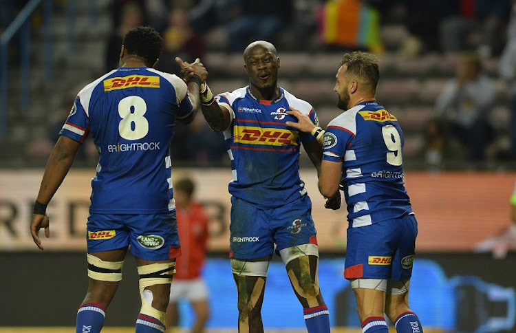 Raymond Rhule of the Stormers celebrate with team mates after scoring a try during the Super Rugby match between DHL Stormers and Cell C Sharks at DHL Newlands on July 07, 2018 in Cape Town, South Africa.