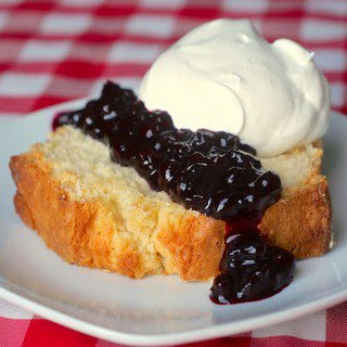 Limoncello Pound Cake with Blueberry Port Sauce