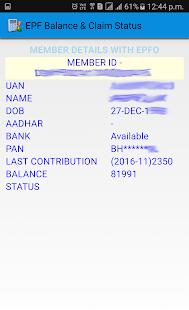 PF Balance & Claim Status - náhled