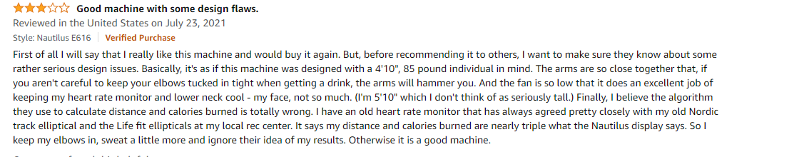 Buyer's feedback mentioning the arms are too close