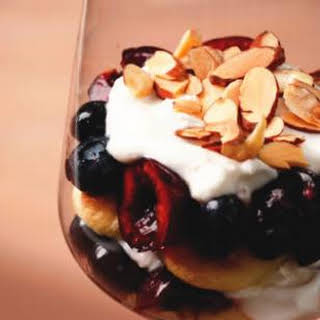 Individual Cherry-Blueberry Trifles.