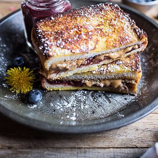 Peanut Butter and Rhubarb Jelly French Toast Sammie
