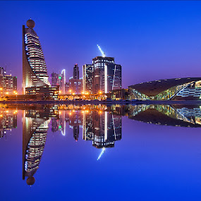 Blueeee by RJ Ramoneda - Buildings & Architecture Other Exteriors ( reflection, structure, blue hour, metro, buildings )