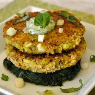 Gluten-Free Zucchini Cakes with Spinach, Arugula & Basil Sour Cream